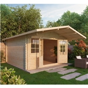 13ft x 13ft (4m x 4m) Deluxe Apex Log Cabin + Free Floor & Felt (Single Glazing) (28mm Tongue and Groove Logs)