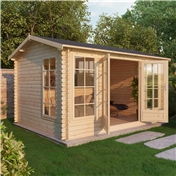 16ft x 13ft (5m x 4m) Deluxe Reverse Log Cabin (Single Glazing) With Free Floor and Felt (28mm Tongue and Groove)