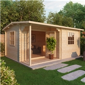 20ft x 16ft (6m x 5m) Deluxe Reverse Log Cabin + Porch (Double Glazing) With Free Floor and Felt (44mm Tongue and Groove Logs)