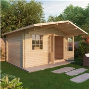 13ft x 10ft (4m x 3m) Deluxe Log Cabin + Canopy (Single Glazing) With Free Floor and Felt (28mm Tongue and Groove Logs)