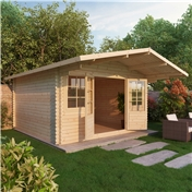 16ft x 16ft (5m x 5m) Deluxe Apex Log Cabin + Free Floor & Felt (Single Glazing) (34mm Tongue and Groove Logs)