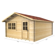 13ft x 16ft (4m x 5m) PARIS Log Cabin - Base Price for 34mm Wall Thickness