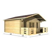 Premier 16ft X 13ft (5m X 4m) Monaco Log Cabin - Double Glazing - 34mm Wall Thickness
