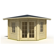 10ft x 10ft (3m x 3m) NOORVIK CORNER Log Cabin - 44mm Wall Thickness