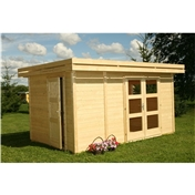 13ft x 10ft (4m x 2.5m) Pent Style Log Cabin (with adjustable Internal Wall) - 28mm Wall Thickness