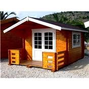 10ft x 10ft (3m x 3m + 1.3m Veranda) Apex Log Cabin - 44mm Wall Thickness
