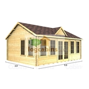 PREMIER 18ft x 13ft (5.5 x 4.0m) CORDON Log Cabin - Base Price for 44mm Wall Thickness