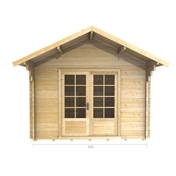 Premier 10ft X 10ft (3m X 3m) Tignes Log Cabin - Single Glazing - 28mm Wall Thickness