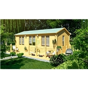 Premier 23ft X 13ft (7.0m X 4.0m) Auris Log Cabin - Double Glazing - 44mm Wall Thickness