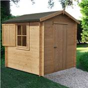 7ft x 7ft Stowe Oakland Log Cabin (2.09m x 2.09m) - 19mm Wall Thickness