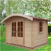 10ft x 8ft Stowe Salmon Log Cabin (2.99m x 2.39m) - 28mm Wall Thickness