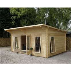 4m x 5.2m Deluxe Pent Log Cabin + Free Floor & Felt & Safety Glass  (34mm Tongue and Groove) Single Glazing