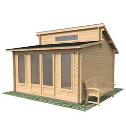 4m x 4m Deluxe Log Cabin With Free Felt (44mm T&G) Single Glazing