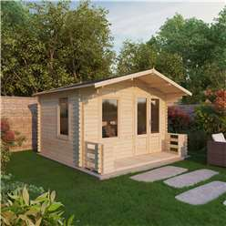 3.29m x 3.48m Value Log Cabin Including Veranda  + Free Floor & Felt & Safety Glass  (19mm Tongue and Groove)