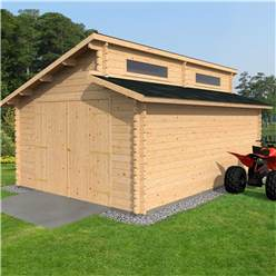4m x 5.6m Deluxe Pent Style Garage Log Cabin (34mm Tongue and Groove Logs) + Free Floor & Felt & Safety Glass  Double Glazing