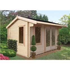 3.59m x 3.59m Superior Reverse Apex Log Cabin - 28mm Tongue and Groove Logs