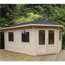 5m x 3m Deluxe Grande Corner Log Cabin (Single Glazing)  + Free Floor & Felt & Safety Glass  (28mm Tongue and Groove Logs) **Right