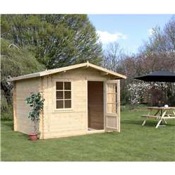3m x 2.4m Deluxe Apex Log Cabin (Single Glazing)  + Free Floor & Felt & Safety Glass (44mm Tongue and Groove Logs)