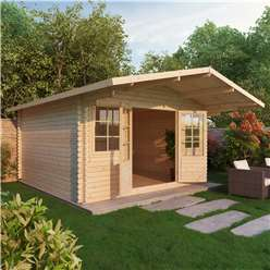 4m x 4m Deluxe Apex Log Cabin  + Free Floor & Felt & Safety Glass (Single Glazing) (44mm Tongue and Groove Logs)