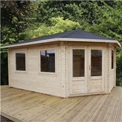 5m x 3m Deluxe Grande Corner Log Cabin (Single Glazing) + Free Floor & Felt & Safety Glass (34mm Tongue and Groove Logs) **Right