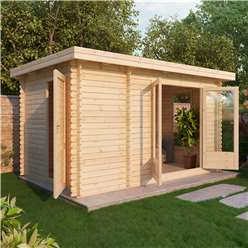 4m x 2.5m Deluxe Pent Style Log Cabin (Double Glazing) + Free Floor & Felt & Safety Glass (44mm Tongue and Groove Logs)