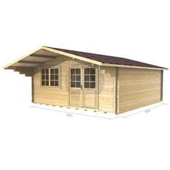 5m x 5m Deluxe Apex Log Cabin - Double Glazing - 70mm Wall Thickness (2148)