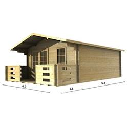 4m x 5m Deluxe Apex Log Cabin - Double Gazing - 70mm Wall Thickness (2047)