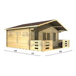 5m x 5m Deluxe Apex Log Cabin - Double Glazing - 44mm Wall Thickness (2094)