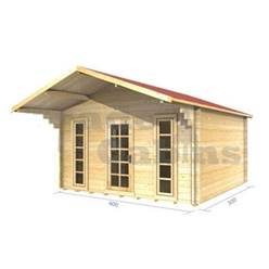 4m x 3m Deluxe Apex Log Cabin - Double Glazing - 70mm Wall Thickness (2052)