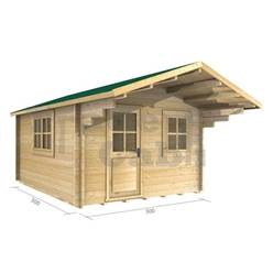 3m x 3m Deluxe Apex Log Cabin - Double Glazing - 44mm Wall Thickness (2025)