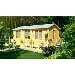 7.0m x 4.0m Reverse Apex Log Cabin - Double Glazing - 70mm Wall Thickness (5150)