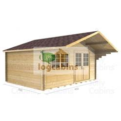 4.5m x 3m Apex Log Cabin - Double Glazing - 44mm Wall Thickness (2081)