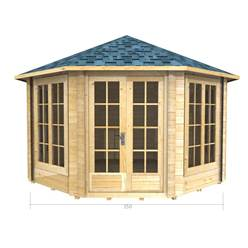 3.5m x 3.5m Deluxe Octagonal Log Cabin - Double Glazing - 44mm Wall Thickness (2043)