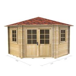 3m x 3m Deluxe Corner Log Cabin - Double Glazing - 44mm Wall Thickness (2036)