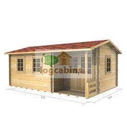 5.5m x 3.5m Deluxe Reverse Apex Log Cabin - Double Glazing - 44mm Wall Thickness (2114)
