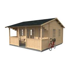 5m x 4m Deluxe Log Cabin + Veranda + Free Floor & Felt & Safety Glass (34mm Tongue and Groove Logs) - Double Glazing