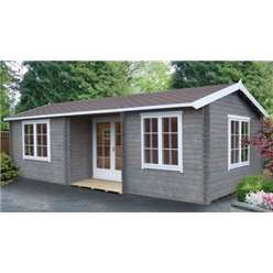 4.27m x 5.49m ELVEDEN APEX LOG CABIN - 70MM TONGUE AND GROOVE LOGS