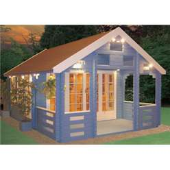 3.89m x 5.49m GLENTRESS LOG CABIN WITH VERANDA - 44MM TONGUE AND GROOVE LOGS