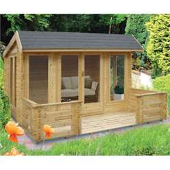 3.69m x 3.69m WYKENHAM LOG CABIN  - 34MM TONGUE AND GROOVE LOGS