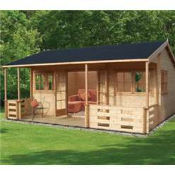 5.39m x 5.9m KINGSWOOD LOG CABIN - 70MM TONGUE AND GROOVE LOGS