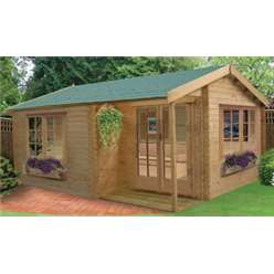 14 X 16 TWYFORD APEX LOG CABIN (4.19M X 4.99M) - 34MM TONGUE AND GROOVE LOGS