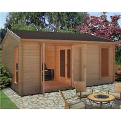 3.88m x 5.27m FIRESTONE APEX LOG CABIN - 70MM TONGUE AND GROOVE LOGS