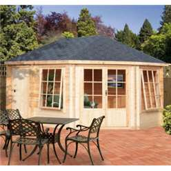2.96m x 4.34m LEYGROVE AND ROWNEY LOG CABIN - 28MM TONGUE AND GROOVE LOGS