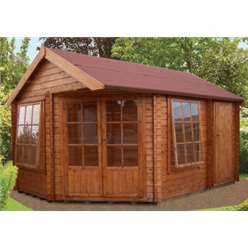 2.96m x 4.34m LIVIA & ROPSLEY LOG CABIN - 28MM TONGUE AND GROOVE LOGS