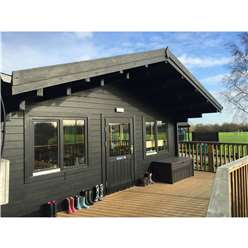 6m x 8m Premier School Classroom Log Cabin - Insulated - 70mm Wall Thickness - Double Glazing - Toughened Safety Glass Plus 6m x 11m Veranda
