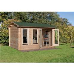 4.0m x 3.0m Log Cabin With Double Doors - 34mm Wall Thickness - INSTALLED **Includes Free Shingles**