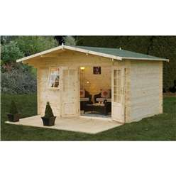 4.0m x 3.0m Classic Log Cabin With Double Doors - 34mm Wall Thickness **Includes Free Shingles**