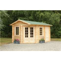 4.0m x 2.8m Corner Log Cabin With Glazed Double Doors - 34mm Wall Thickness **Includes Free Shingles**