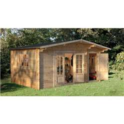 4.5m x 3.5m Leisure Log Cabin With Glazed Double Doors - 34mm Wall Thickness **Includes Free Shingles**
