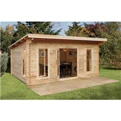 5m x 4m Large Contemporary Log Cabin - 44mm Wall Thickness - INSTALLED **Includes Free Shingles**